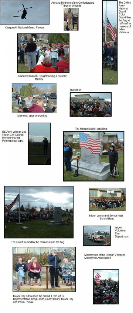 Pictures from the Veteran's Memorial Dedication Ceremony